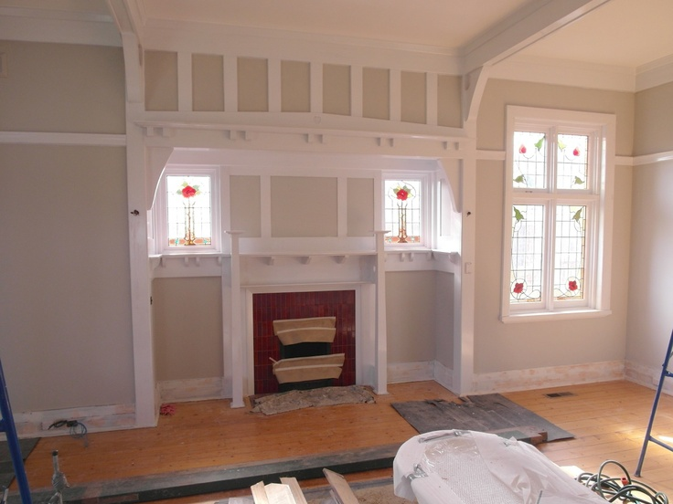 Fireplace to Billiardroom painted. Wall colour Taubmans Flint Smoke and Dulux Mt Aspiring for timber trims.