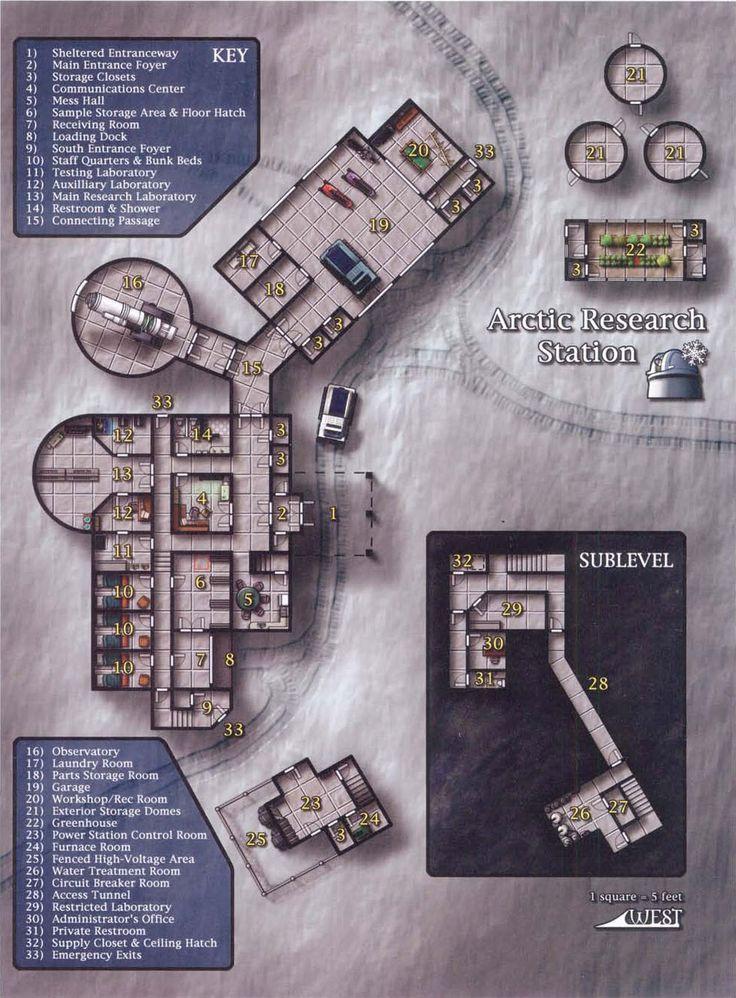 Arctic Research Station (971×1317); shadowrun, floorplan