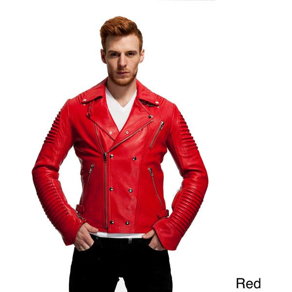 Men's The Empire Leather Moto Jacket ($240) ❤ liked on Polyvore featuring men's fashion, men's clothing, men's outerwear, men's jackets, red, mens moto jacket, mens short sleeve jacket, mens red jacket, mens leather jackets and mens motorcycle jackets