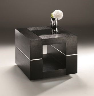 Strata Lamp Table - layered dark ash veneered frames are complemented by a central aluminium detail and topped with tempered black glass