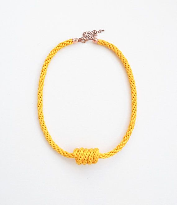 Yellow satin cord braided necklace knot necklace by elfinadesign, $21.00