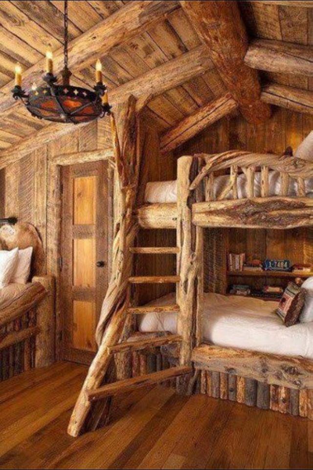 Beautiful natural wooden bunk bed. Ancient look.