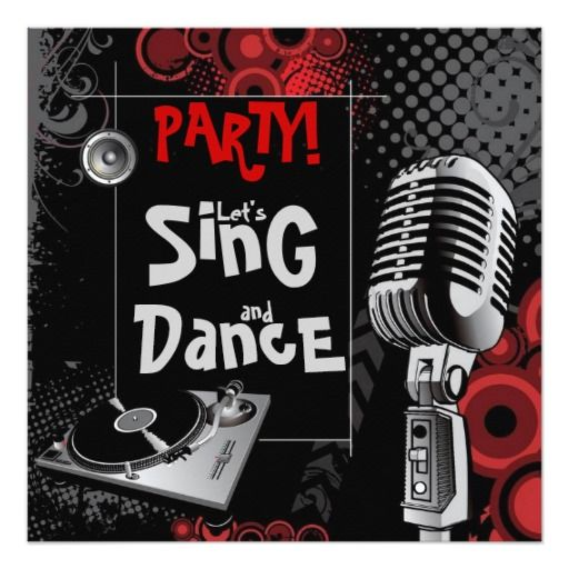 347 best karaoke birthday party invitations images on pinterest funky karaoke music sing dance birthday party card stopboris Image collections