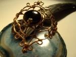 Colored glass & antique copper wire