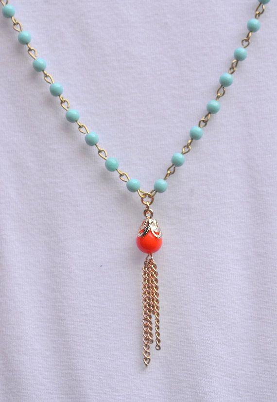 Frange longue or collier en Turquoise et corail Orange. Collier long or Tassel Orange corail. Collier en or de gland. Collier de l'instruc...