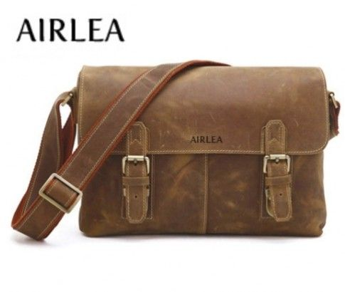 Genuine Vintage Leather Men's Brown Shoulder Bag/Messenger Bag from the AIRLEA Collection. Just $139 from #ikOala #shopping #deal.