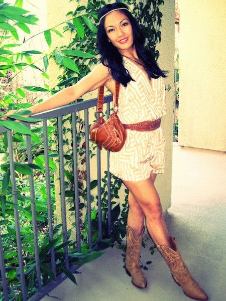 Romper Trend Try It On Cowgirl Style Western Boots