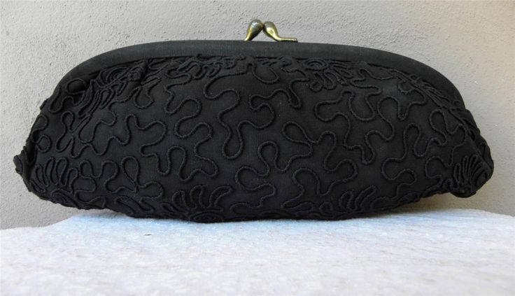 Vintage late 50s black Top Frame Evening Clutch with Corelli Embroidery