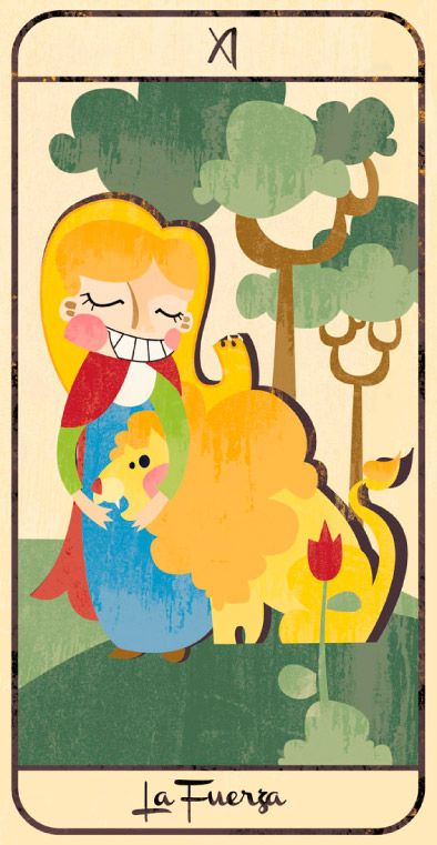 La Fuerza: naipe de un Tarot infantil para niños pendiente de editar; La maqueta del mismo (un libro tutorial ilustrado cuya contraportada en forma de caja guarda en su interior las cartas) se puede visitar en el Museo del Tarot de Bélgica del coleccionista de Tarot Guido Gillabel. Autora Elena Catalán