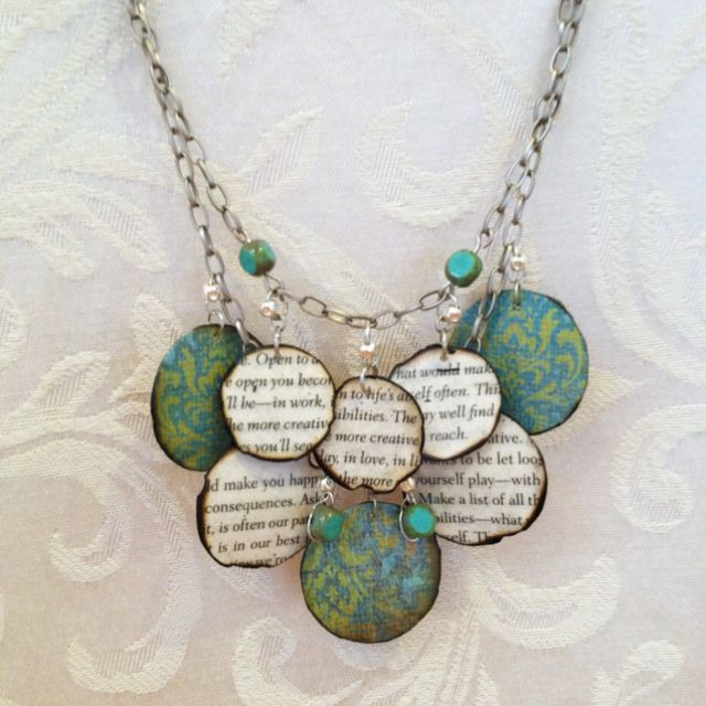 Paper bead necklace. Love the burnt edges, and the layered effect.