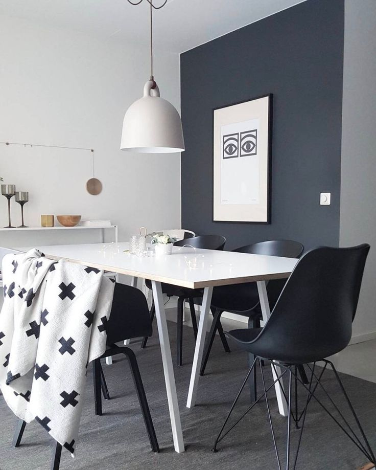 Add some metallic accents to a monochrome interior to add some depth to your space. :: The Hay AAC22s Vitra Eames DSR & Normann Copenhagen Bell lamp all look great together in this dining space. :: credit : @hanna_karoline28