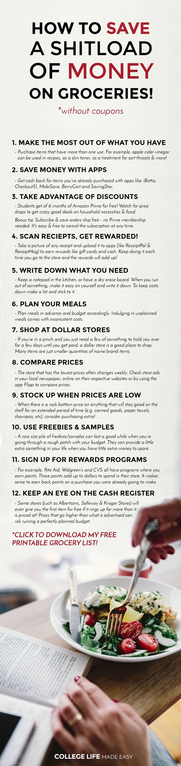12 Ways to Save Money on Groceries! (Without Coupons) | Free Printable Grocery List | Frugal Living | Budget Grocery Shopping | Tips Tricks Hacks | How to Save Money on Groceries without coupons | Free Printable Shopping Lists | Apps | College Grocery List on a Budget | Easy Cheap Healthy | No coupons | via @esycollegelife
