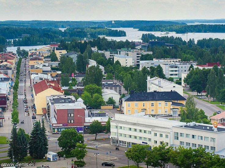 #Varkaus town. #DidYouKnow that in old Finnish 'Varkaus' meant strait, and this city is located in the lake district on straits between two parts of Lake Saimaa? #city #topview #viewfromthetop #cityview #citylife #lake #sky #clouds #citylandscape #landscape #landscape_captures #building #buildings #urbanlife #cityscape #tower #towers #town
