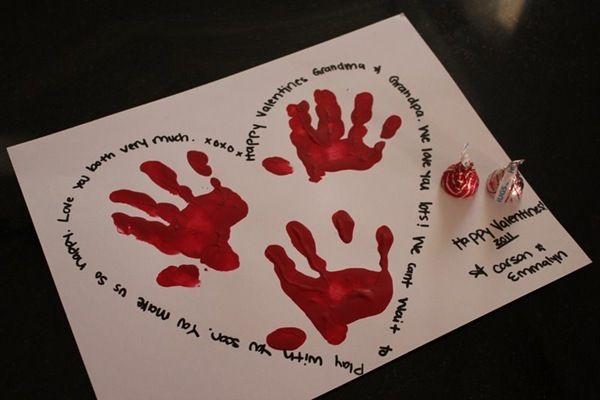 handprint heart. kids craft.