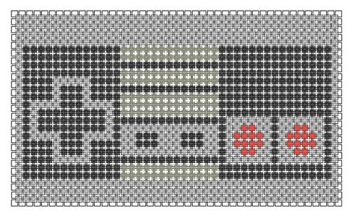 cross stitch pattern of a nintendo controller