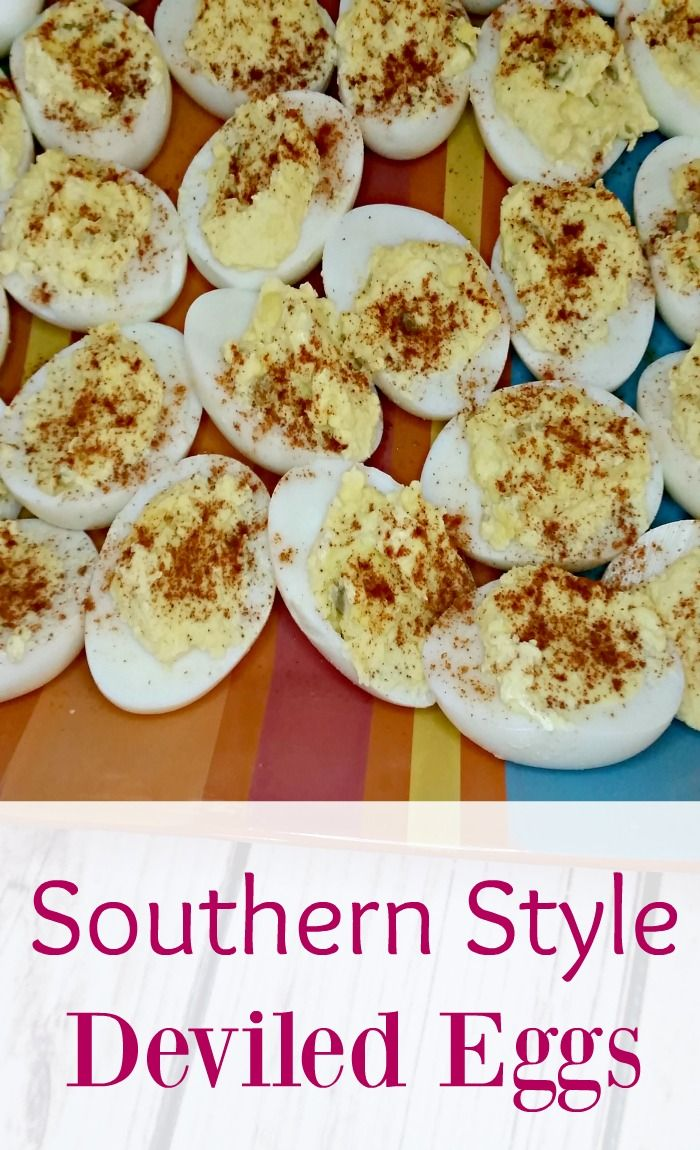 Make these southern style deviled eggs for your next family meal. They are a delicious and easy side dish.