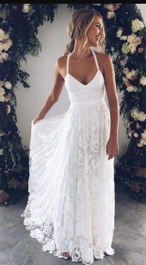 a482a51f45c90 A-Line Straps Backless Court Train Lace Beach Wedding Dresses, - Wedding  Tim. Halter Empire White Lace Prom/Evening Dress ...