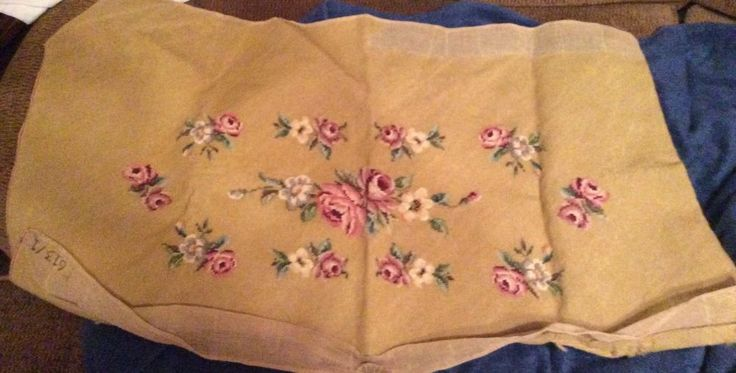 "Vintage Completed Floral Needlepoint for Bench or Similar 41"" x 24.5"""