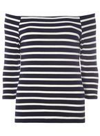 Womens Navy And Ivory Stripe Bardot Top- Blue