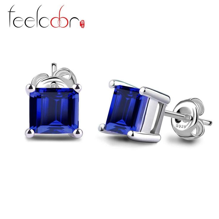 Wholesale Fashion 0.86ct Sapphire Earrings Stud 925 Solid Sterling Silver Brand New Stylish Best Gift For Girls Alternative Measures