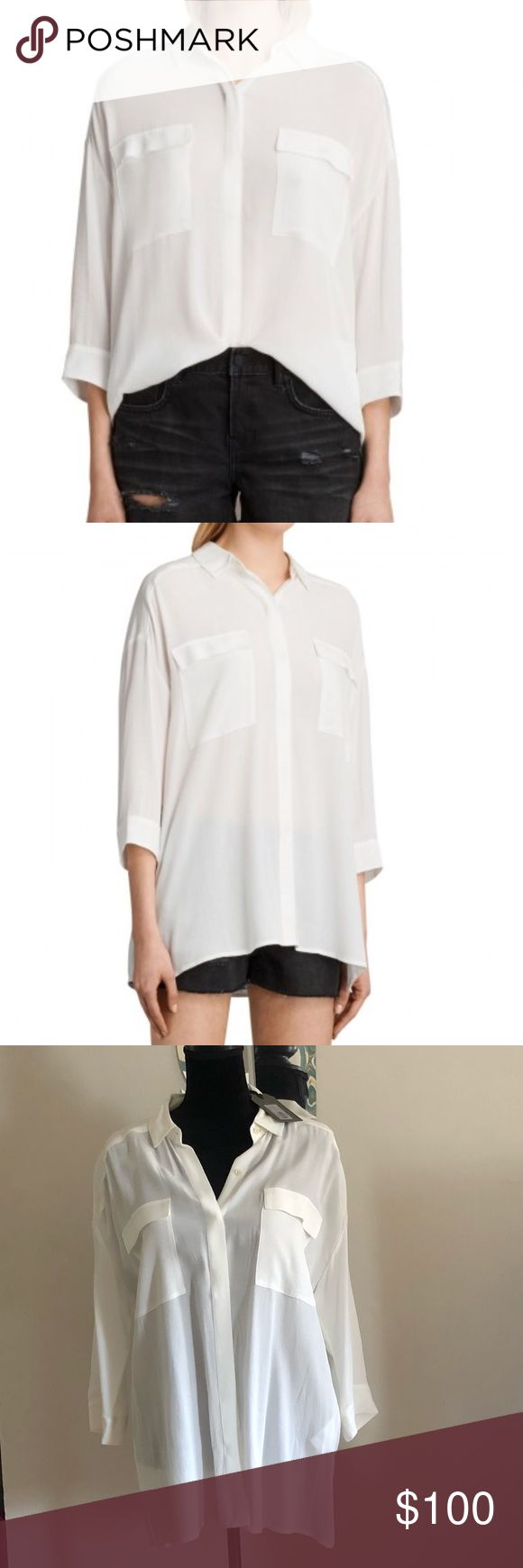 All Saints Milson Shirt Chalk White Refresh your weekend style with this Milson Shirt from AllSaints.  Featuring classic chest pockets, a curved collar and short side slits, this military inspired shirt is crafted from a soft, fluid fabric for a relaxed and easy silhouette.  Use size chart in last photo   It pairs perfectly with skinny jeans or shorts. 100% viscose. Color: Chalk Sz L  Ask questions please. Normally Ships within 48hrs. Gift 🎁 w purchase. Poshmark Ambassador. Trusted seller…