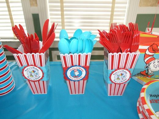Dr. Seuss Party silverware - i think those popcorn holders are $1 at target