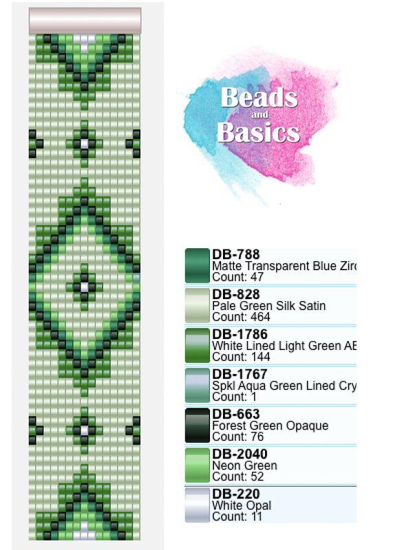 green miyuki delica beadloom pattern - patronen voor weefarmbandjes