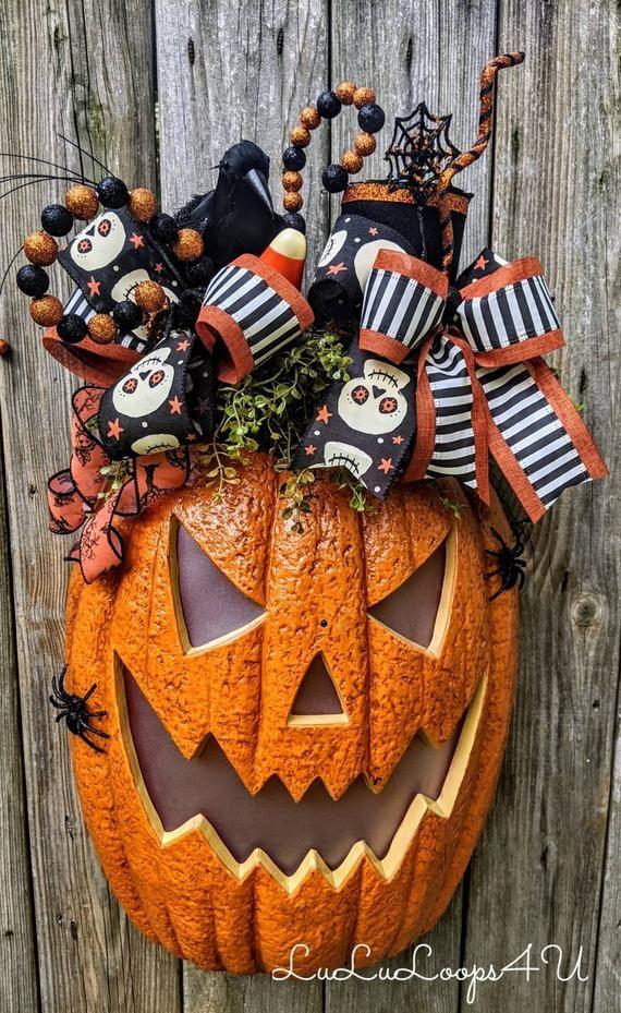 Halloween 2020 Cop Jackolantern Halloween Pumpkin Arrangement, Jack o' lantern, Halloween decor