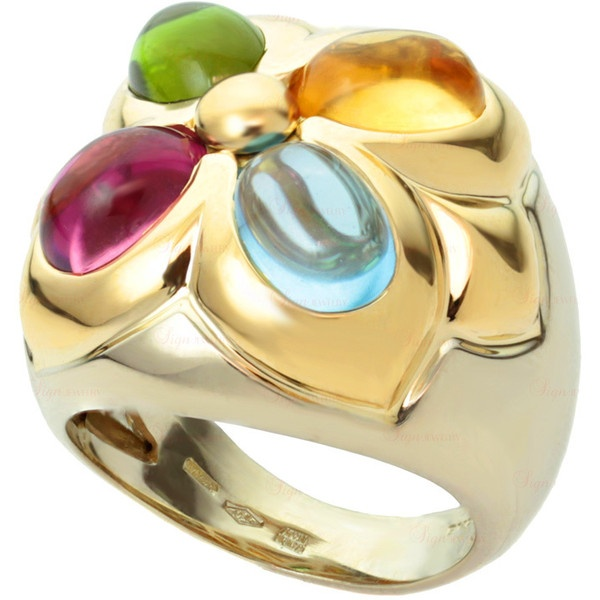 for sale on this multicolor bvulgari ring features an white gold shank with an yellow gold crown bezelset with 4 vibrant x oval cabochon gemstones