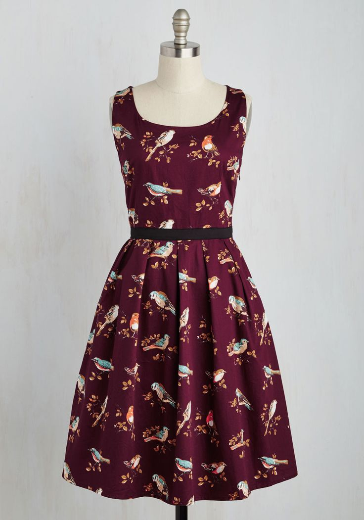 Greenhouse Grandeur Dress in Plum - Multi, Red, Print with Animals, Print, Critters, Sleeveless, Fall, Woven, Better, Long, Daytime Party, Valentine's, Fit & Flare