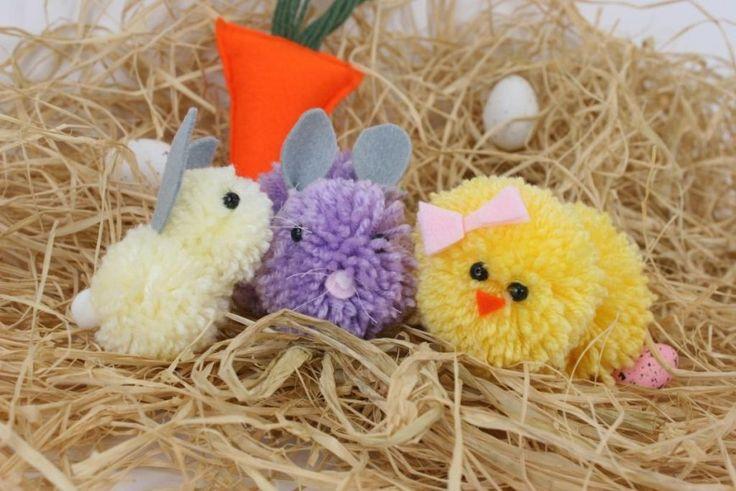 Pom Pom Animals #pompom #easter #chicks #pompoms #howto