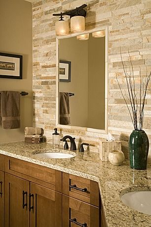 Stone Backsplash And Matching Stone Styled Tissue Box Give This Master Bathroom A Unique Crafted Flare Coordinate Kitchen And Powder Room Tile As Well