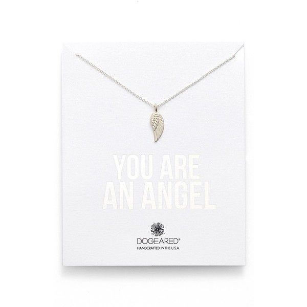 Dogeared 'You Are an Angel' Wing Necklace ($52) ❤ liked on Polyvore featuring jewelry, necklaces, silver, pendant chain necklace, angel wing necklace, chain necklace, pendants & necklaces and feather charm necklace