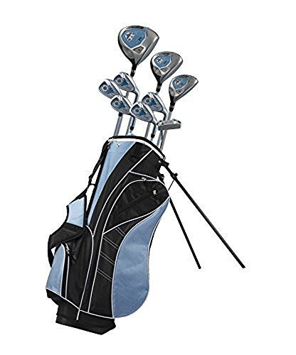 "Precise AMG Ladies Womens Complete Right Handed Golf Clubs Set Includes Titanium Driver, S.S. Fairway, S.S. Hybrid, S.S. 6-PW Irons, Putter, Stand Bag, 3 H/C's Blue Petite Size for 5'3"" and Below"