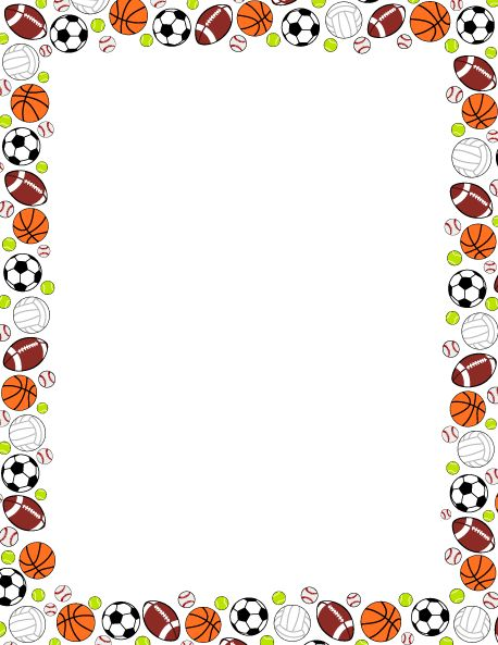 Printable sports ball border. Use the border in Microsoft Word or other programs…