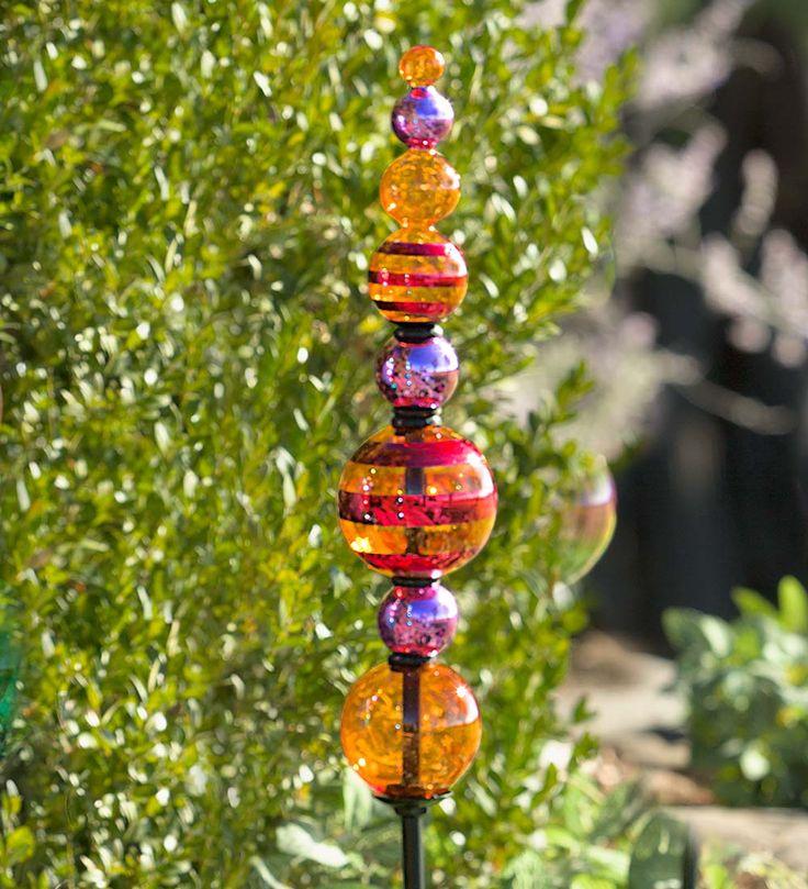 Glass Finial Totem Garden Stake | Decorative Garden Accents