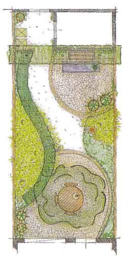 tuinontwerp voorbeeld kleine tuin op het noorden