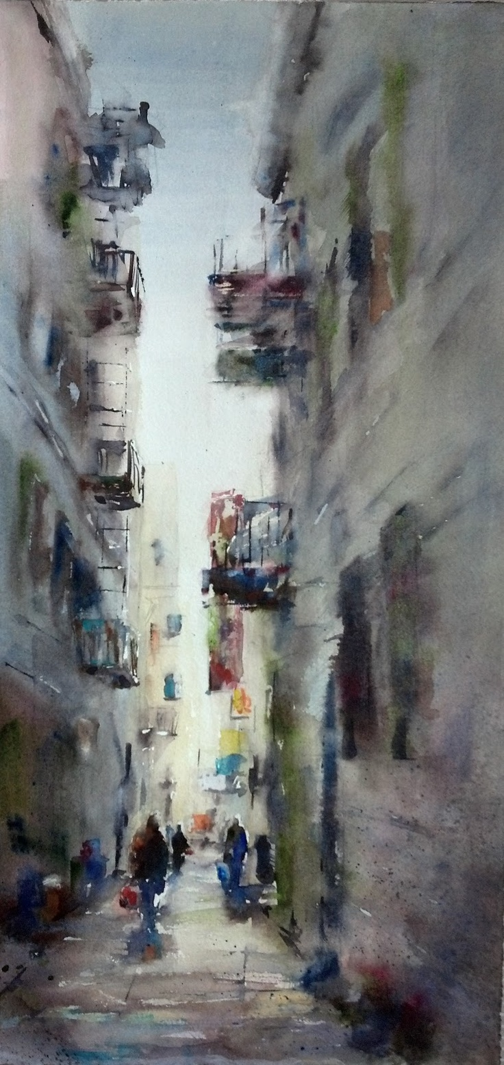 Fine watercolor art for sale -  Alley San Francisco Chinatown Original Watercolor By Julie Hill 20 X