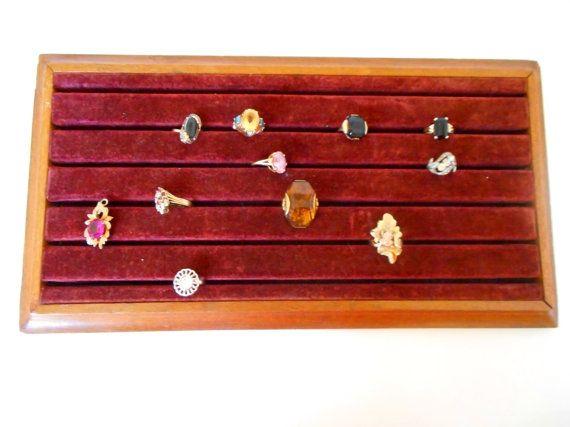 Vintage Velvet Jewelry Display Ring box Store by nanascottagehouse, $39.99