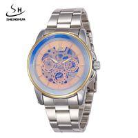 2017 SHENHUA Marca De Luxo Relógios Men Automatic self-vento Moda Casual Esportes Masculino Relógio de Esqueleto relógios de Pulso de Aço Cheio de Ouro