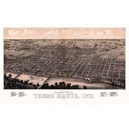 Historic Map of Terre Haute Indiana 1880 Vigo County Canvas Art - (18 x 24)