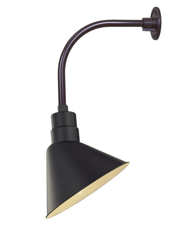 light outdoor wall sconce with 12 angle shade and 13 goosenec