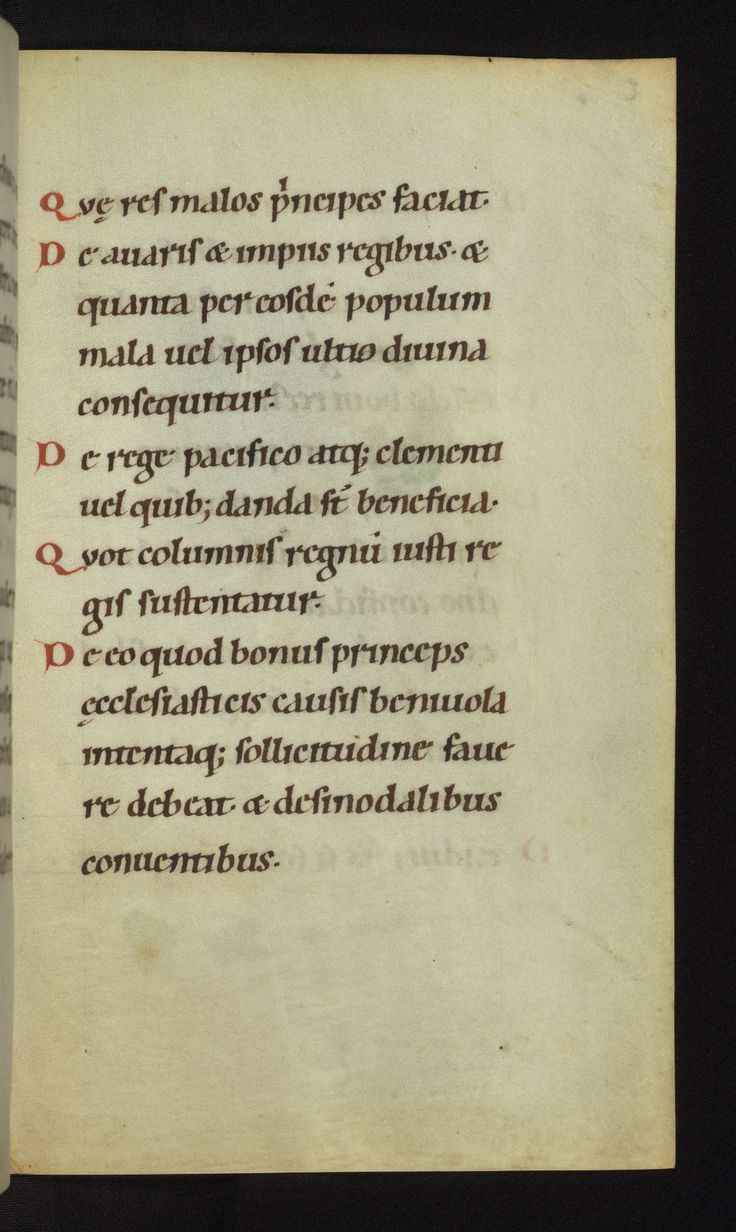 """Walters W.12 On Christian Rulers folio 3recto transcribed mid-12th century in Germany Script: Carolingian minuscule (described in catalogue as """"Romanesque Caroline minuscule"""".  Type of manuscript: history  Usage:  Creative Commons Attribution-ShareAlike 3.0 Unported license"""