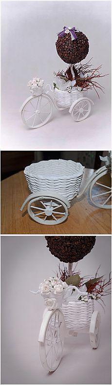 Велосипед. Кофейный топиарий в корзинке. МК.
