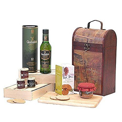 The Premium Clarendon Vintage Wooden Wine Chest Hamper with 350ml Glenfiddich 12 Year Old Single Malt Scotch Whisky -Gift ideas for - Christmas,Fathers Day,Mothers Day,Valentines,presents,birthday,men,him,dad,her,mum,thank you,wedding anniversary,engagement,18th,21st,30th,40th,50th,60th,70th,80th,90th