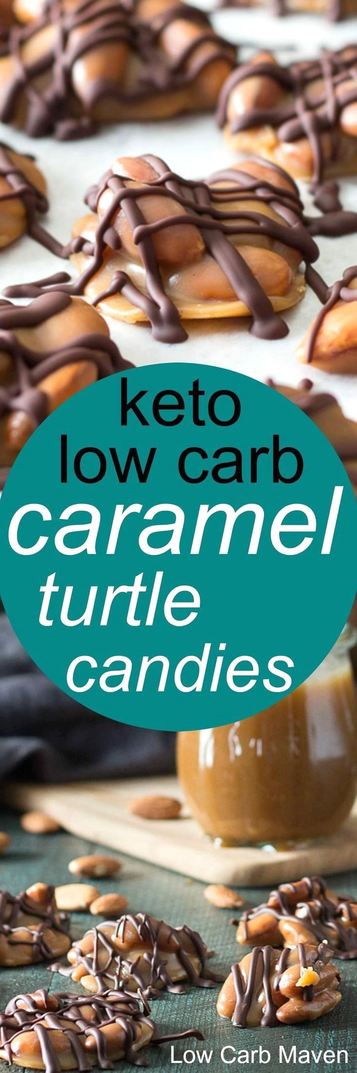 A low carb turtle recipe that's keto and diabetic friendly.This low carb candy recipe uses sugar free caramel sauce, almonds and sugar free chocolate to make delicious chewy candies suitable for any keto diet.