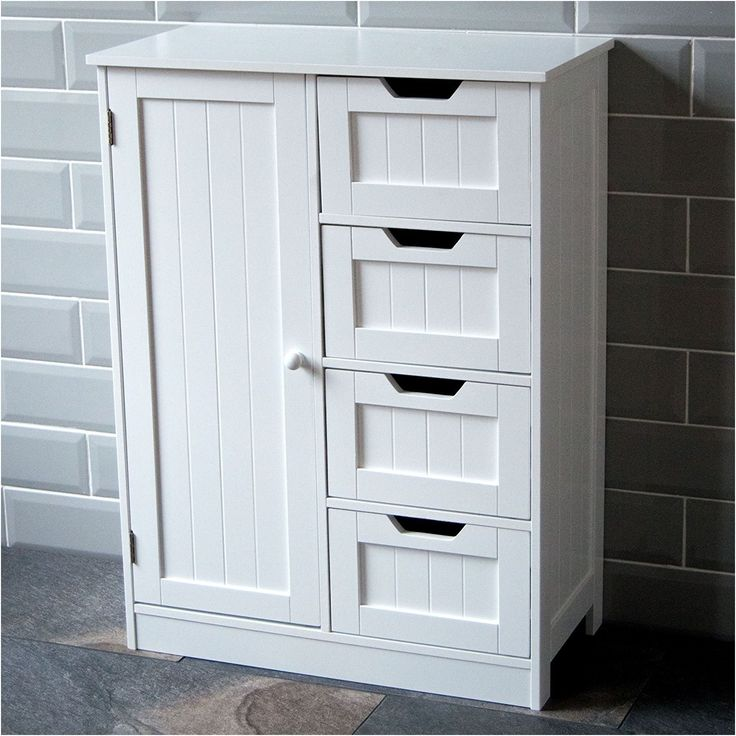 tall boy storage cabinet white wooden cupboard bathroom unit from Wooden Bathroom Cabinets Uk