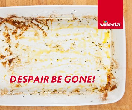 Do you feel like you'll never get that casserole dish back from hopelessness? Try covering with boiled water and letting the dish stand for about 10 mins. Then empty and simply peel off with a plastic scraper. Let us know how you go or post your own clever trick.