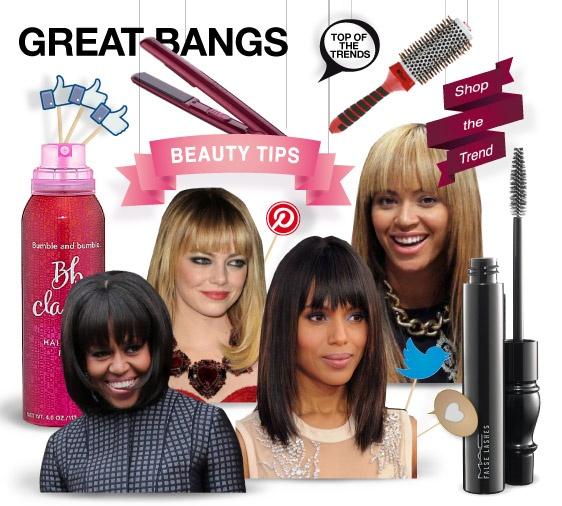 Great bangs - beauty tips - shopthemagazine.com #emmastone #beyoncé #michelleobama #kerrywashington