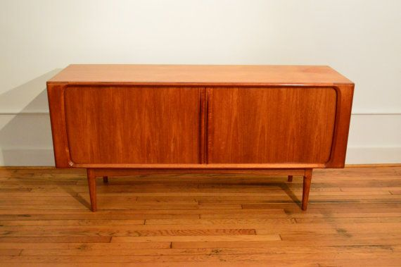 Bernhard Pederson and Son Teak Sideboard // Danish Modern Credenza  This stylish solid cabinet and tambour doors was produced in Denmark in the 1960s and is a trademark design of the company. Compact size.